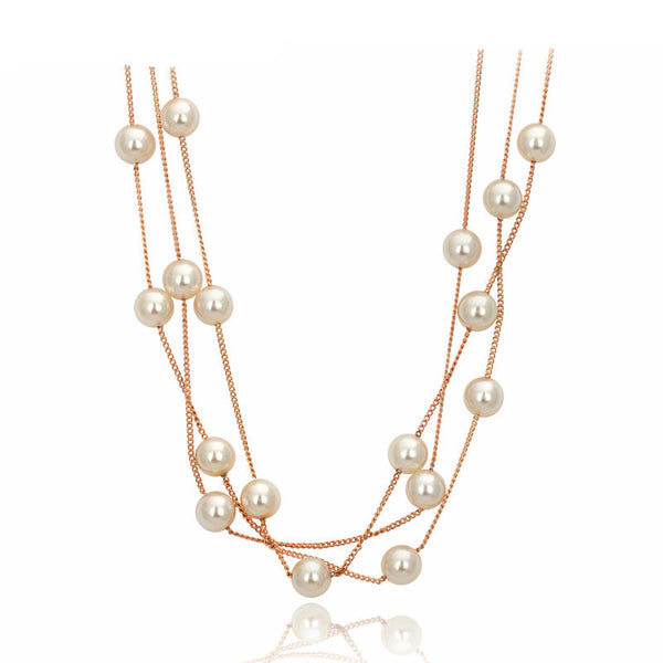 Elegant Pearl Rose and White Gold Plated Necklace , necklace - ornacraft