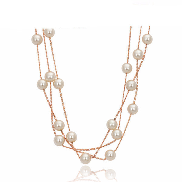 Elegant Pearl Rose and White Gold Plated Necklace