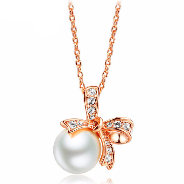 Pearl Gold and Platinum Plated Pendant Necklaces