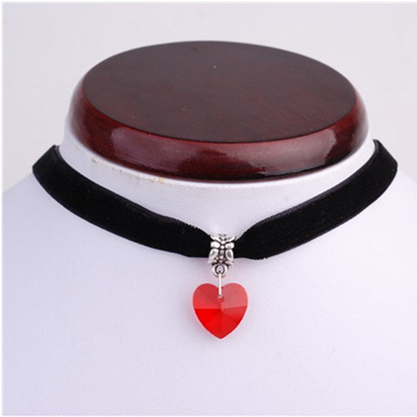 Simple Colored Crystal Heart Black Velvet Choker Necklace , necklace - ornacraft