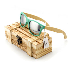 Pastel Green Wayfarer Bamboo Wood Sunglasses Sunglasses