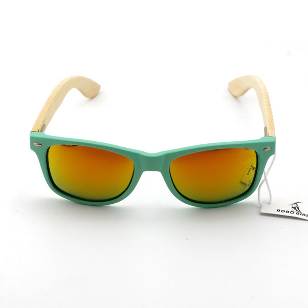 Pastel Green Wayfarer Bamboo Wood Sunglasses Sunglasses , sunglasses - ornacraft