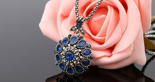 Gorgeous Bohemian Vintage Plated Crystal Pendant Long Necklace , necklace - ornacraft