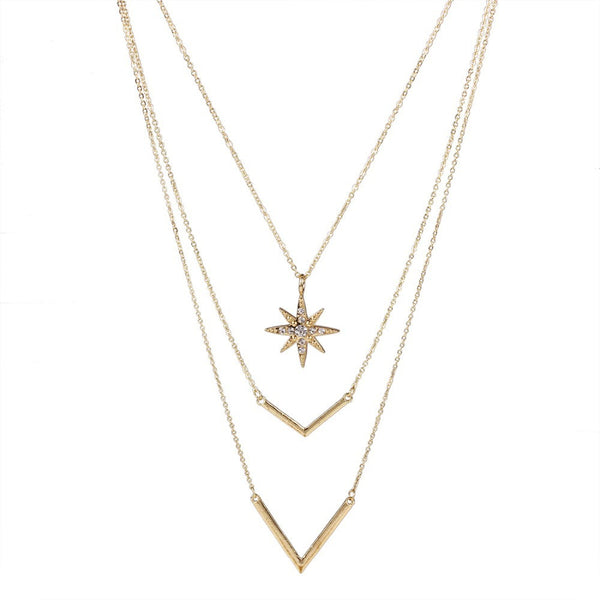 Crystal Gold Color Multilayer Chains Necklaces