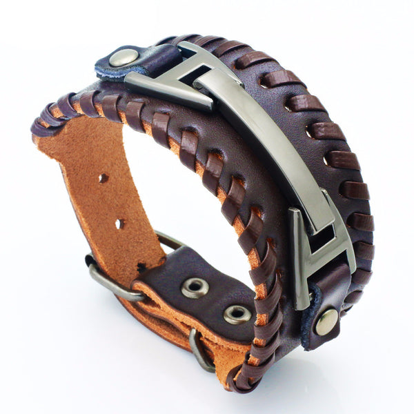 Genuine Leather Wide Charm Bracelet