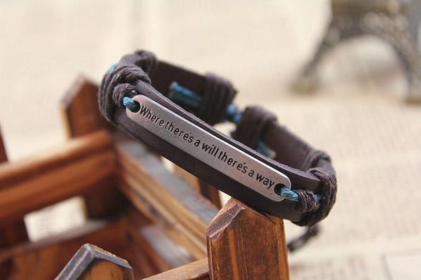 """Where there is a will.."" engraved Inspirational bracelets"