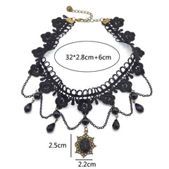 Gothic Victorian Black Crystal Choker Necklace [Multiple Variants] , necklace - ornacraft
