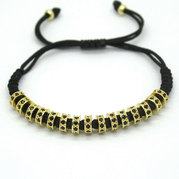 Micro Pave Black Stoppers Beads Strand Macrame Bracelet [4 options]
