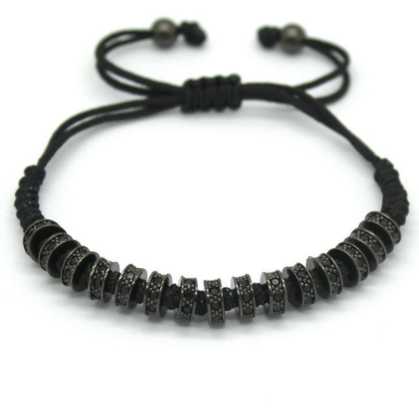 Micro Pave Black Stoppers Beads Strand Macrame Bracelet [4 options] , bracelet - ornacraft