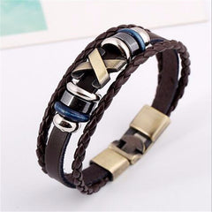 Cross Charm Braided Leather Bracelet [Three Colors] , bracelet - ornacraft