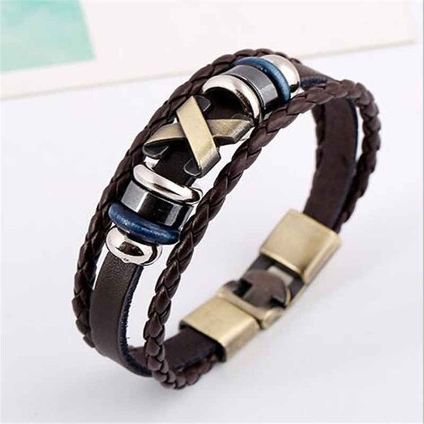 Cross Charm Braided Leather Bracelet [Three Colors]