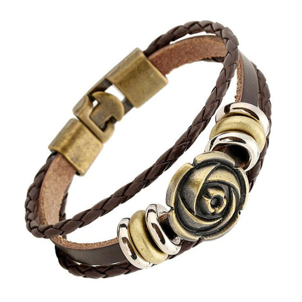 Gold Rose Charms Braided Leather Bracelet