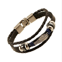 Antique Feather Charms Leather Braid Bracelet , bracelet - ornacraft