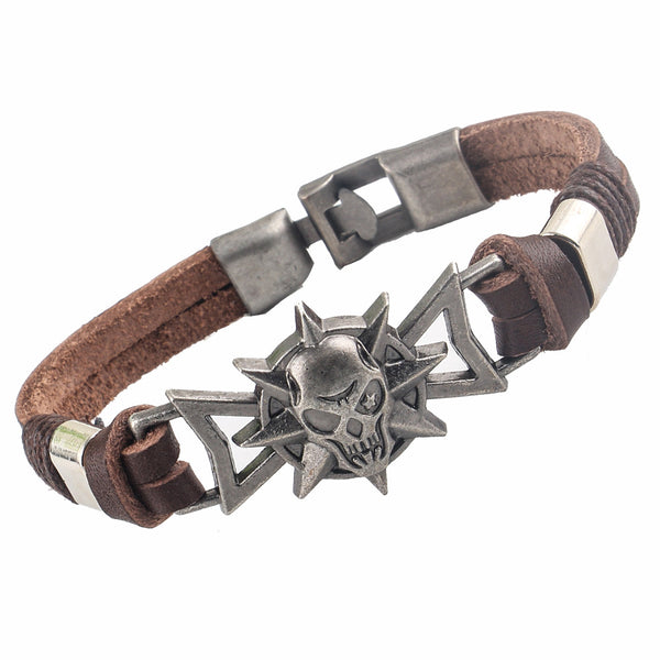 Roaring Skull Head Charm Leather Bracelet [Two Colors]