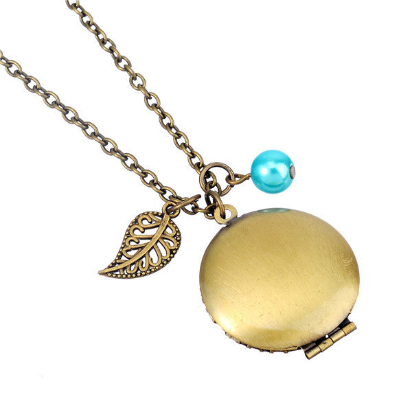Antique Bronze Clamshell Chain and Leaf Essential Oil Diffuser Locket Necklace , necklace - ornacraft
