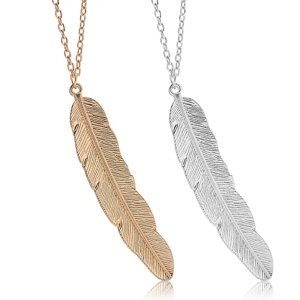 Elegant Long Chain Feather Pendant Necklace , necklace - ornacraft