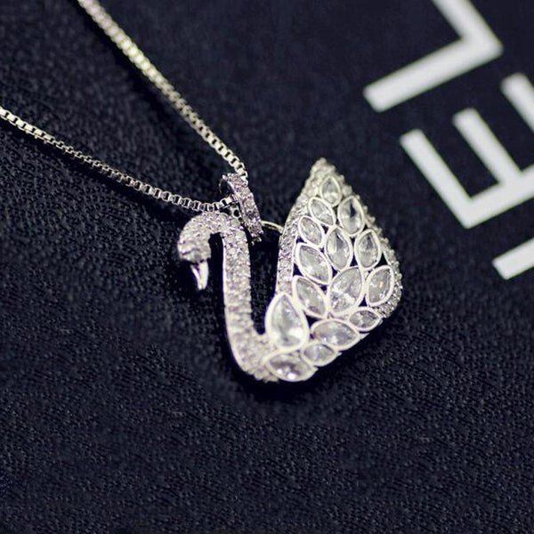 Sparkling Crystal Swan Pendant Necklace , necklace - ornacraft