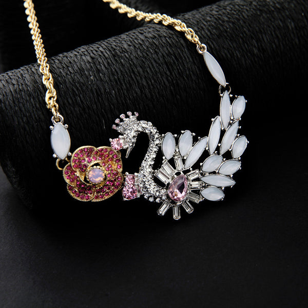 Flower Swan Pendant Necklace , necklace - ornacraft