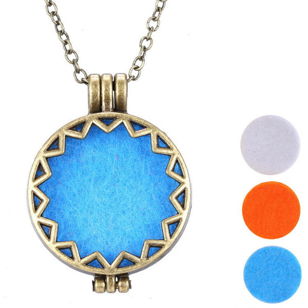 Copper Sun Essential Oil Diffuser Locket Necklace , necklace - ornacraft