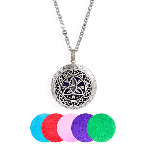 Antique Silver Color Felt Pad Three Flower Essential Oil Diffuser Locker Necklace