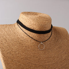 Multilayer Velvet Choker With Geometric Pendant Necklaces , necklace - ornacraft
