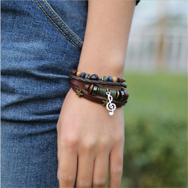 Fashion Punk Style Leather Beaded  Bracelet