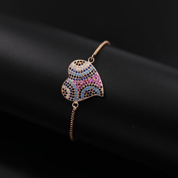 High Quality Unique Luxury Crystal Adjustable Heart Bracelets