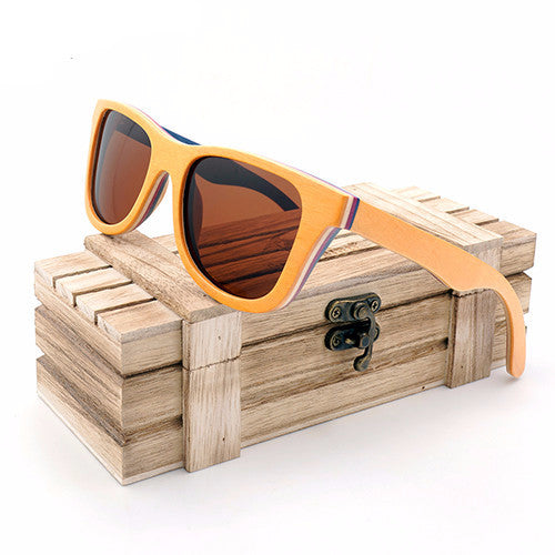 Yellow Skateboard Bamboo Wood Sunglasses [2 Variants] , sunglasses - ornacraft