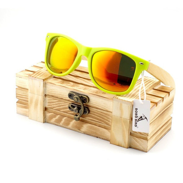 Snazzy Neon Green Wayfarer Bamboo Wood Sunglasses [4 Variants] , sunglasses - ornacraft