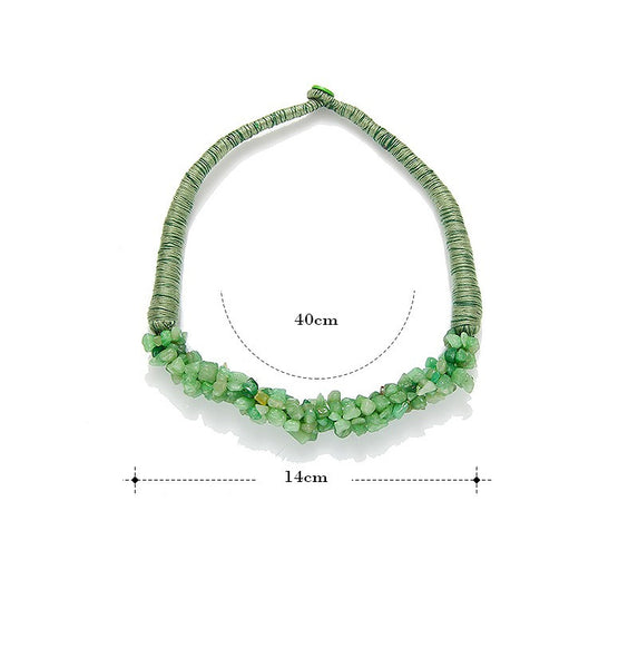 Bohemian Multi-Color Natural Stone Choker Collar Necklace [Multiple Color Options] , necklace - ornacraft