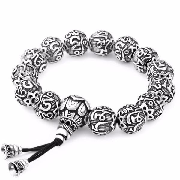 Ancient Lotus Silver Prayer Beads Bracelet , bracelet - ornacraft