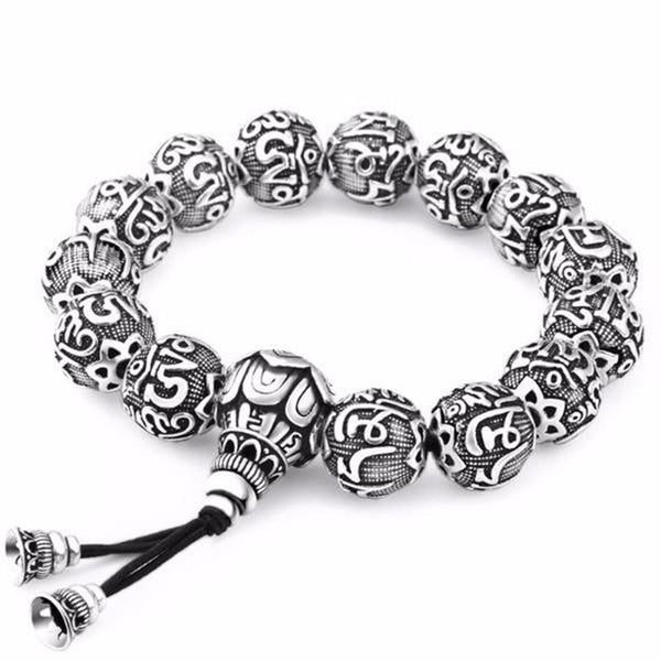 Ancient Lotus Silver Prayer Beads Bracelet