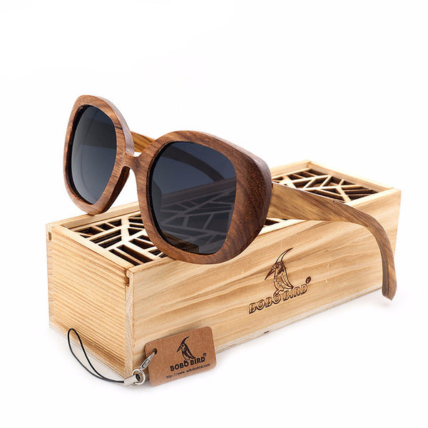 Brown Butterfly Oversized Bamboo Wood Sunglasses