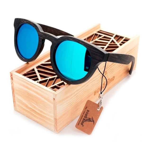 Vintage Round Cat Eye Dark Bamboo Wood Sunglasses [2 Variants]