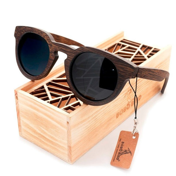 Vintage Round Cat Eye Dark Bamboo Wood Sunglasses [2 Variants] , sunglasses - ornacraft