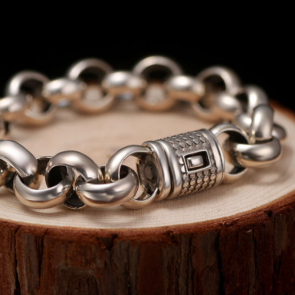 Rolo Medium Solid Premium Silver Chain Bracelet , bracelet - ornacraft