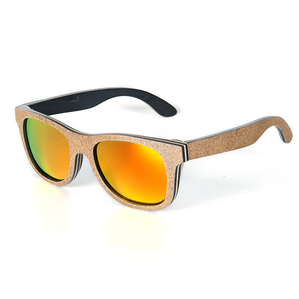 Tangerine Plum Skateboard Bamboo Wood Sunglasses , sunglasses - ornacraft
