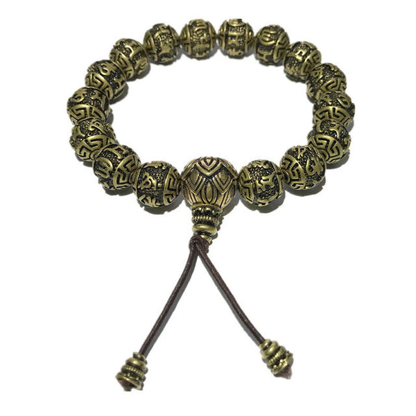Classic Kangyur Copper Prayer Beads Bracelet