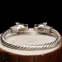 Premium Silver Tigress Head Bangle Luxury Bracelet