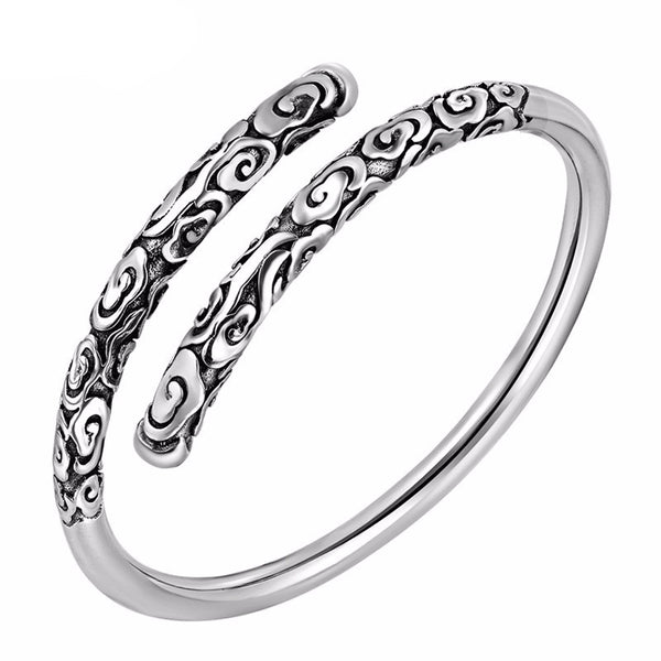 Floret Carving Premium Sterling Silver Bangle Luxury Bracelet