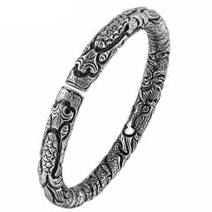 PREMIUM Classic 999 Sterling Silver Longfeng Bangle Luxury Bracelet , bracelet - ornacraft