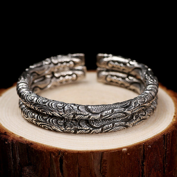 PREMIUM Classic 999 Sterling Silver Longfeng Bangle Luxury Bracelet