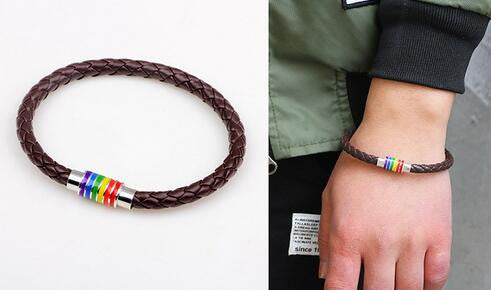 Rainbow Pride Magnetic Buckle Leather Bracelet [Black - Brown]