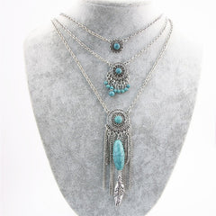 Antique Multi Layered Bohemian Turquoise and Feathers Necklace , necklace - ornacraft