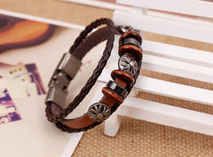 Shield Charm Leather Braided Bracelets , bracelet - ornacraft