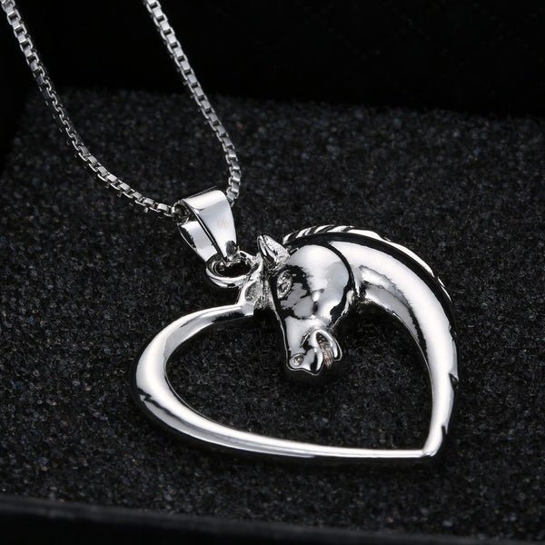 Horse in Heart Pendant Necklace , necklace - ornacraft