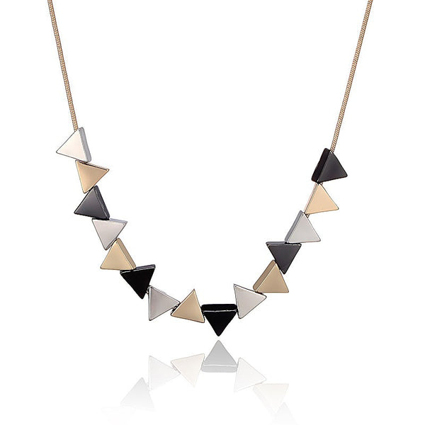 Geometric Triangle Shaped Pendant Necklace