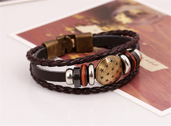 All Stars Charms Leather Braid Bracelet , bracelet - ornacraft