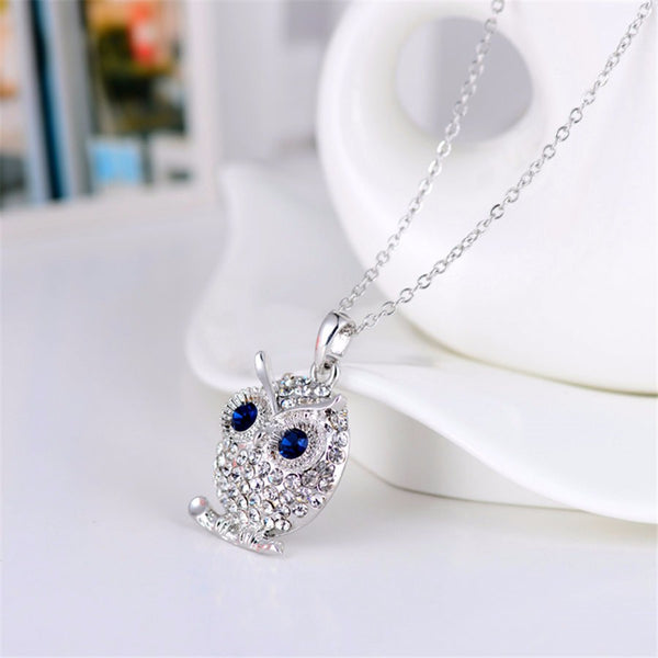 Crystal Tiny Silver Owl Pendant Necklace , necklace - ornacraft