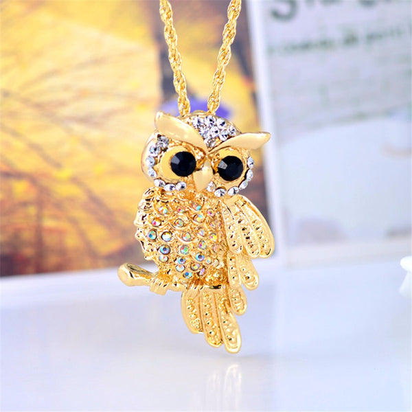 Crystal Golden Owl Pendant Necklace , necklace - ornacraft